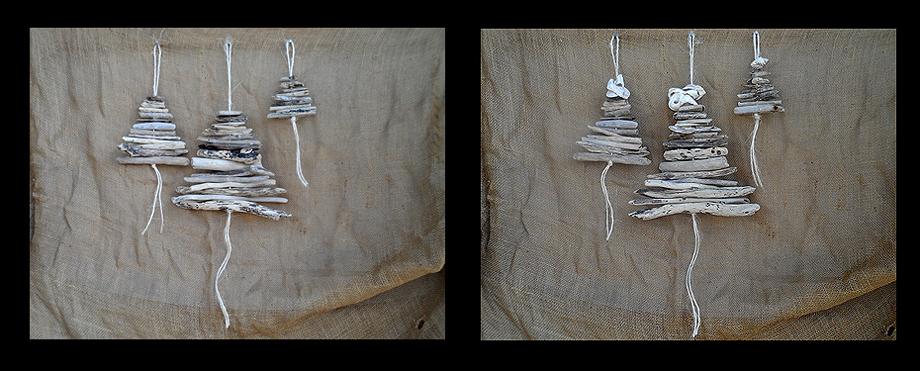 3 sizes hanging driftwood Christmas trees