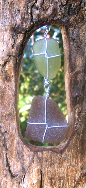 driftwood and sea glass mobile
