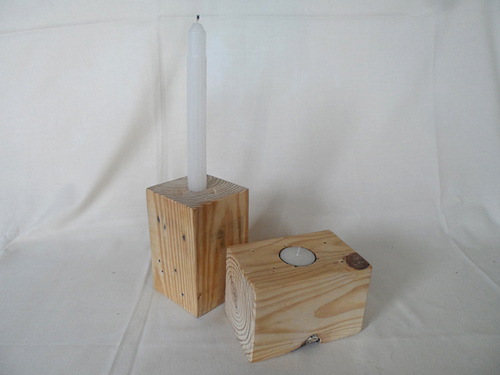 wood decor blocks with candles