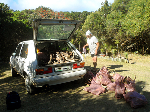 Packing driftwood into a small car