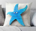 Wooden blue starfish wall hanging cushion