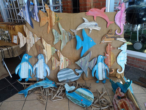 Reclaimed wood sea animal wall hangings